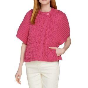 Aran Crafts Merino Wool Cape Cardigan Sweater
